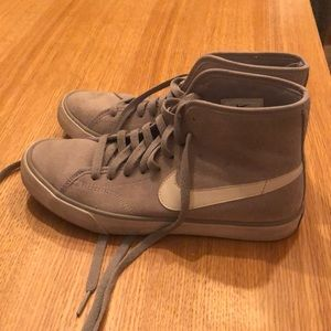 Women's gray Nike blazer high tops